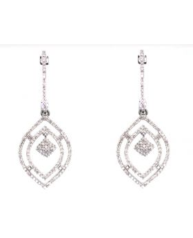 Pave Diamond Dangle Earrings in White Gold (1.0 ct)