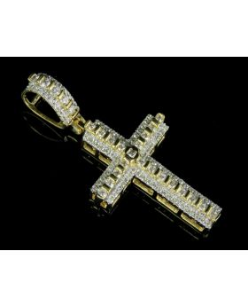 10K Yellow Gold Real Diamond Designer Cross Pendant 0.50 CT 1.5""