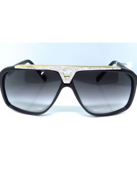 Louis Vuitton Diamond Aviator Sunglasses Evidence Black & Gold Z0350W 5.0 Ct.