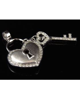 Heart and Key Diamond Pendant in 10k White Gold (1 ct)
