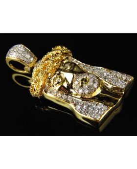 10K Yellow Gold High End 1.25 Inch Jesus Piece Pendant (1.0 Ct)