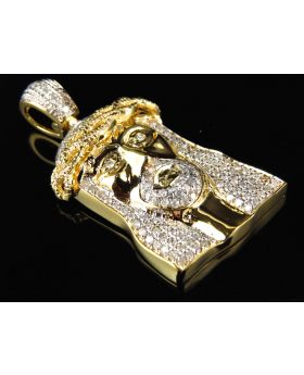 10K Yellow Gold High End 1.5 Inch Jesus Piece Pendant (1.40 Ct)