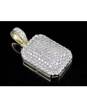 Men's 10K Yellow Gold Genuine Diamond 2.0ct Dome Pillow Pendant 1""