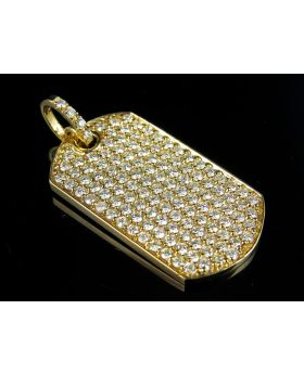 14K Yellow Gold Military Dog Tag Real VS2-Si1 Diamond Pendant 3.0ct 1.2""