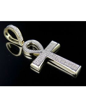 10K Yellow Gold Ankh Cross Real Diamond Pendant 0.33ct 1.6""