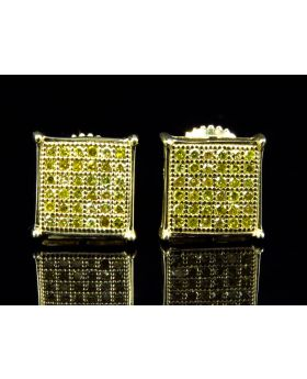 Mens Ladies Prong Canary Yellow Diamond Stud Earrings (8MM 0.33CT)