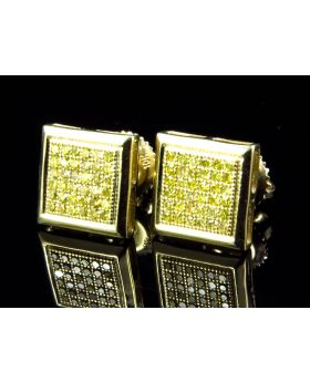 Mens Ladies Bezel Canary Yellow Diamond Stud Earrings (9MM .40 CT)