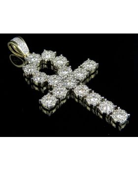 Men's Cluster Ankh Real Diamond 10K Yellow Gold Cross 4.0ct 2.2""