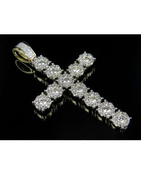 10K Yellow Gold Cluster Genuine Diamond Cross Pendant 2.50ct 2.0""