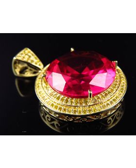 Yellow Gold Royal Ruby Gemstone Canary Diamond Pendant 1.25 inch (1.0ct)