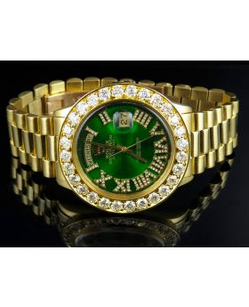 Rolex President 18K Yellow Gold Day-Date President Green Dial Diamond Watch (7.1 Ct)