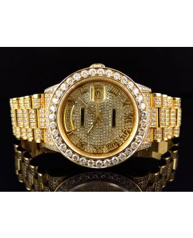 Mens 36 MM Rolex President 18038 With Diamond bezel and Diamond Band (19 Ct)