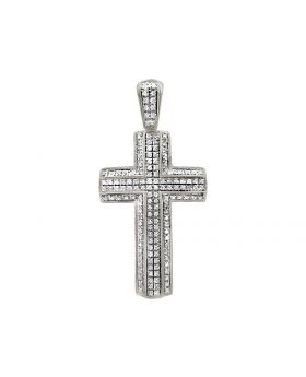 "10K White Gold 3D 2 Layer Diamond Cross Charm Pendant 1.75"" .65ct"