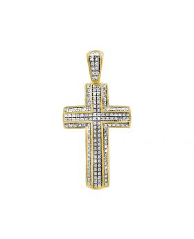 "10K Yellow Gold 3D 2 Layer Diamond Cross Charm Pendant 1.75"" .65ct"