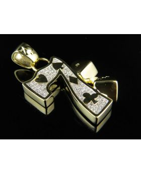 10K Yelllow Gold Lucky Number 7 Poker Dice Casino 1.5 Inch Charm Pendant 0.60ct