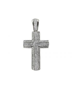 "10K White Gold 3D 2 Layer Diamond Cross Charm Pendant 2.3"" 1.2ct"