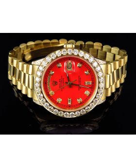 Mens 36 MM Rolex President 18038 With Diamond bezel and Red Dial (6.5 Ct)