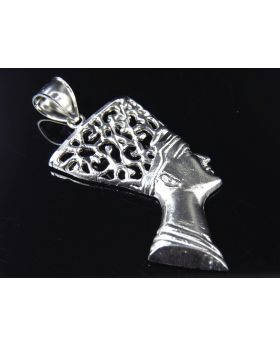 "10K White Gold Queen Nefertiti Pendant (2"")"