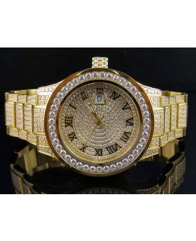 Mens Jewelry Unlimited Yellow Gold Simulated Diamond Watch 45MM
