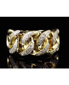10k Yellow Gold Diamond Cuban Link Pinky Ring (0.40ct)