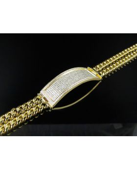 "10K Yellow Gold 14MM Diamond ID Two String Cuban Link 9"" Bracelet 3.0ct"