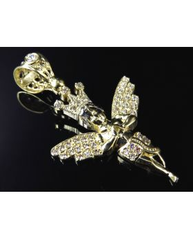 10K Yellow Gold Mini Crowned Angel Pendant