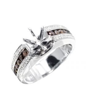 Semi Mount Ring with Brown/white Diamonds (0.82 ct)