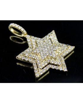 10K Yellow Gold Stacked Iced Out Star Of David  Diamond Pendant 7/10 ct 1.1""