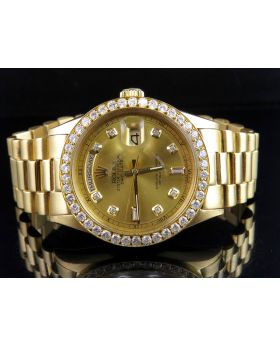 Rolex President 18K Yellow Gold Day-Date President Diamond Watch  (3.5 Ct)