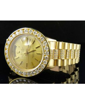 Rolex18K Yellow Gold Day-Date President 18038 Diamond Watch (11.5)