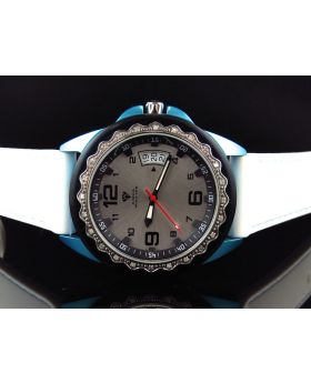 Mens Aqua Master Blue White 2 Tone Diamond Watch 0.25 Ct