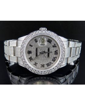 Mens Rolex Date Just Stainless Oyster Perpetual Full Diamond Watch (10 Ct)
