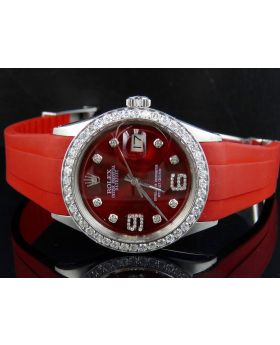 Rolex Datejust 36MM Stainless Steel Red Rubber Band Watch 2.75 Ct