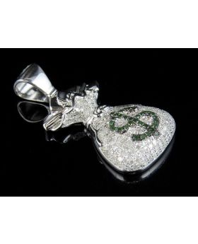 Men's White Gold Finish Real Diamonds Money Bag Pendant 1.30ct 1.5""