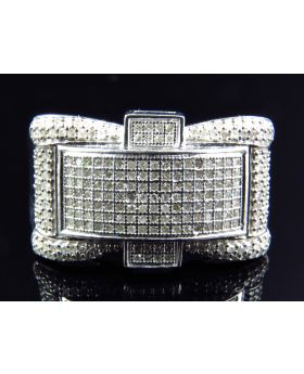 Mens 14 MM Elegant Style Diamond Ring Finished In White (0.80 Ct)