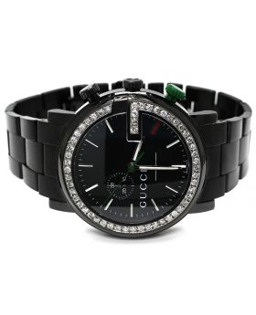 Black PVD YA101331 Diamond Gucci Watch 3.5 Ct