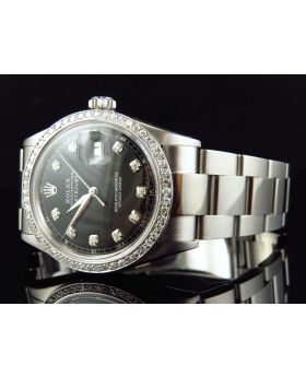 Rolex Datejust Oyster Stainless Steel with Black Dial Diamond Watch (2.15 Ct)