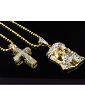 Jesus Pendant and Micro Diamond Cross Pendant Set with Chains