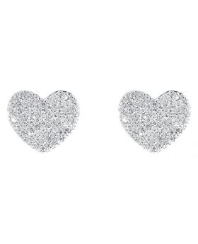 Womens Pave Diamond Heart Earrings in Sterling Silver (0.75 ct)