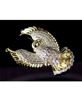 Yellow Gold Finished 1.5 Inch Mid-Flight Eagle Diamond Pendant (1.12ct)