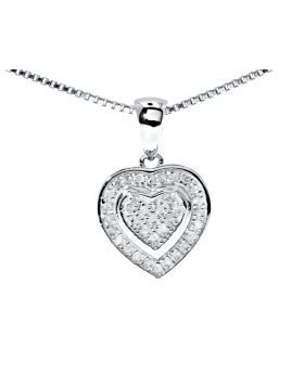 Dual Heart Pendant in Sterling Silver (0.20 ct)