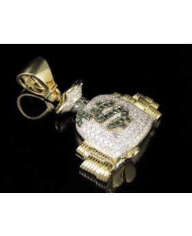 10K Yellow Gold Real Diamond Money Bag Pendant Charm 0.88 CT 1.5""