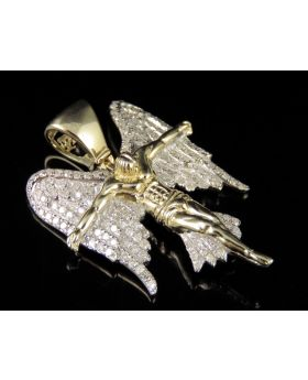 10K Yellow Gold Real Diamond Jesus Wing Pendant 0.75 CT 1.5""