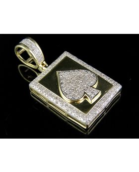 Men's 10K Yellow Gold Spade Genuine Diamond Pendant Charm 3/5 Ct 1.25""