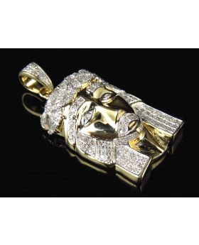 10K Yellow Gold Genuine Diamond Micro Pave Jesus Piece Pendant (0.75ct)