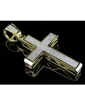 Men's 10K Yellow Gold Designer Cross Pendant .65ct 2.0""