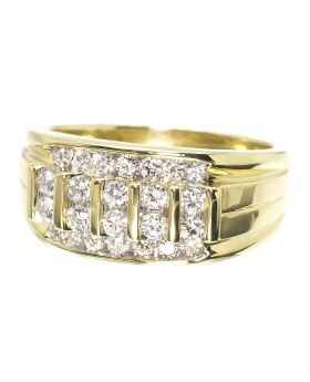 Vertical Row Diamond Round Cut Mens Band Ring (1.0 ct)
