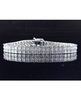 2 Row Diamond 8 Inch Bracelet Finished in White Gold