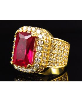 Mens Ruby Gemstone Pave VS Diamond Pinky Ring (5.0 Ct)