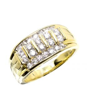 Men's 10K Yellow Gold Wide Diamond Round Cut Band Ring (1.0 ct)